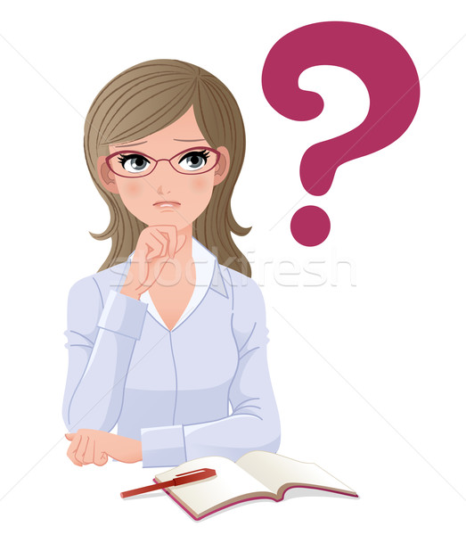 Eyewear glasses woman with question mark Stock photo © norwayblue