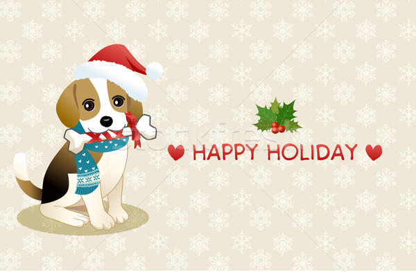 Stock photo: Beagle dog chewing ribboned bone with holiday message