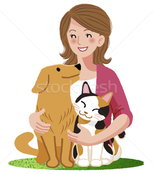 A woman smiling with furry friends Stock photo © norwayblue