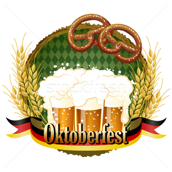 Woody frame Oktoberfest Celebration design with beer and pretzel Stock photo © norwayblue