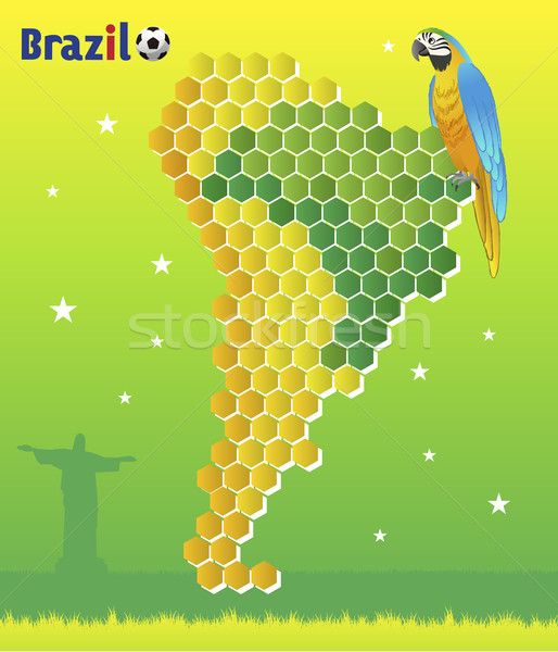 Brazil Concept - with macaw and map of  Latin America Stock photo © norwayblue