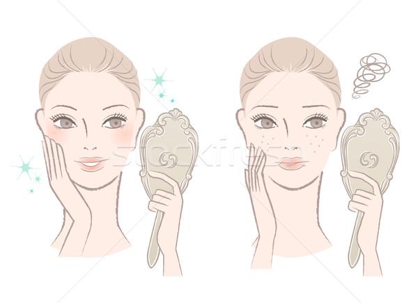 красивая женщина глядя зеркало уход за кожей изолированный Сток-фото © norwayblue