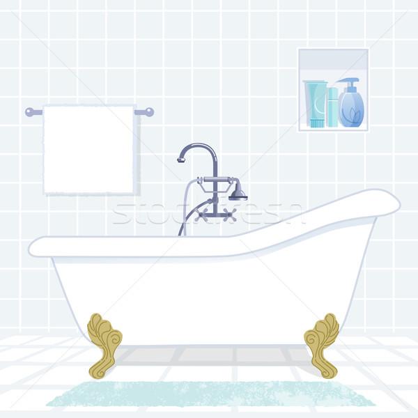 bathroom with vintage style bathtub Stock photo © norwayblue
