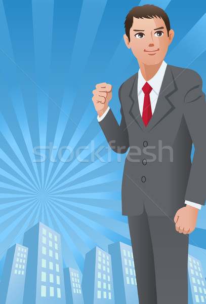 Businessman with his fist up on the cityscape background. Stock photo © norwayblue