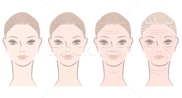 Aging process of beautiful woman Stock photo © norwayblue
