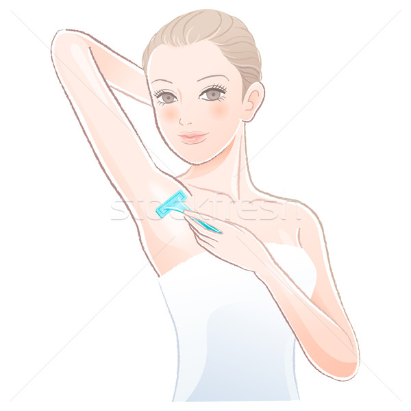 Beautiful young woman    applying razor to the shaving armpit Stock photo © norwayblue