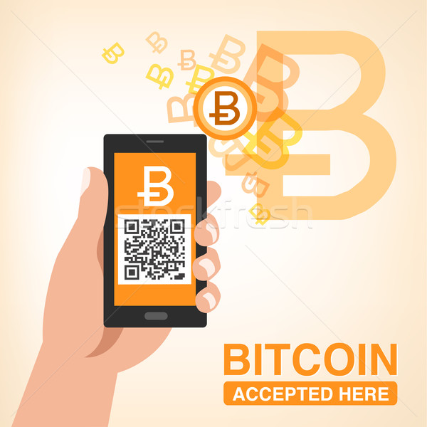 Bitcoin Accepted, Smartphone with QR code Stock photo © norwayblue
