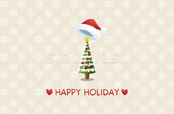 Holiday background with santa hat and christmas tree Stock photo © norwayblue