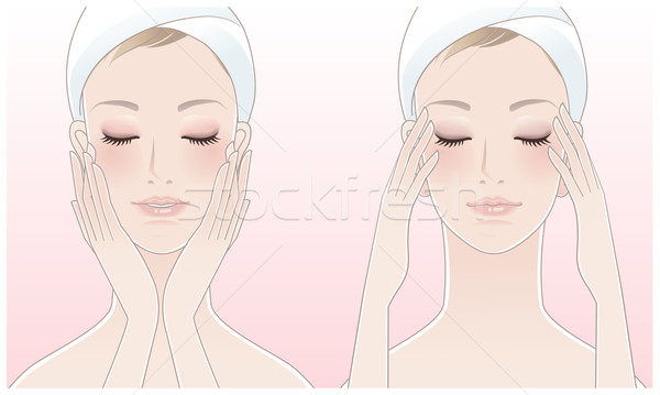 Beautiful young woman touching her face and pressing temples Stock photo © norwayblue