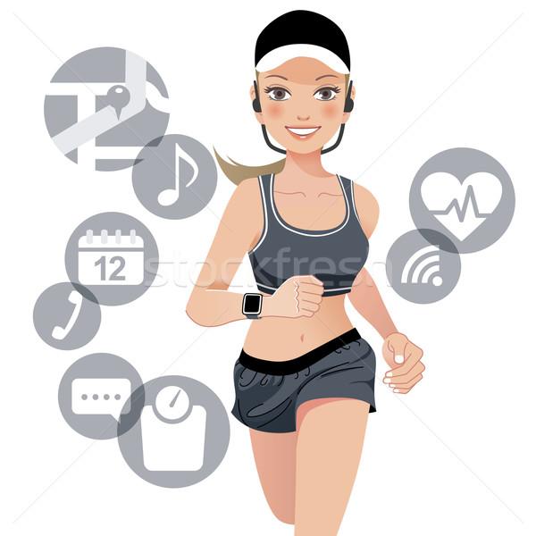 Zdrowych sportu kobieta smart oglądać urządzenie Zdjęcia stock © norwayblue