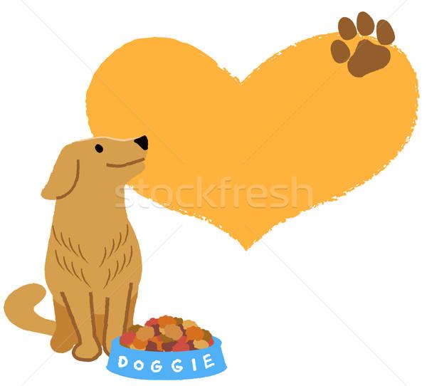 Golden Retriever nachschlagen groß Herzform liebenswert Hund Stock foto © norwayblue