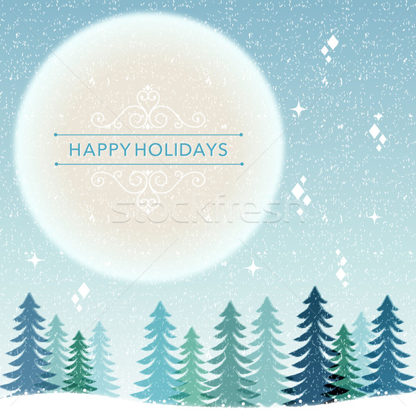 зима праздник снег ночь Рождества снега Сток-фото © norwayblue