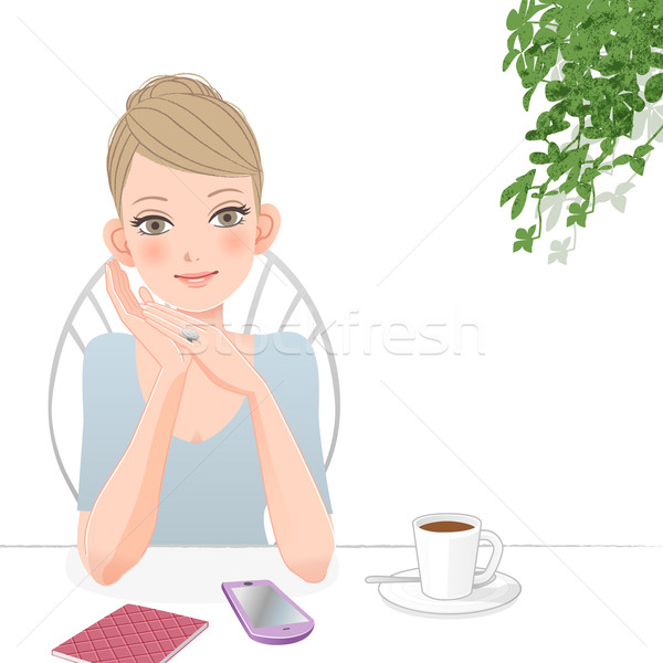 Cute woman relaxing at café with smart phone Stock photo © norwayblue
