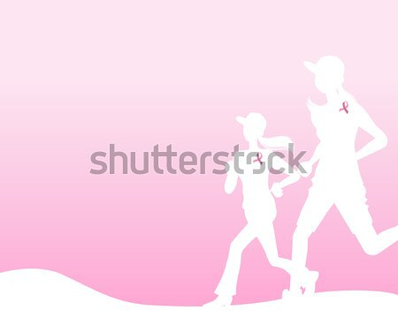 Pink ribbon concept with running woman silhouette Stock photo © norwayblue