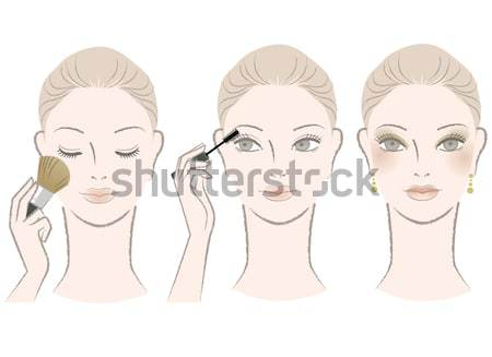 Set of Beautiful woman portrait, front and side view Stock photo © norwayblue