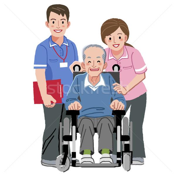 Portraits heureux âgées homme fauteuil roulant Photo stock © norwayblue