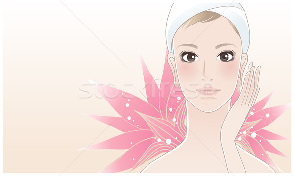 Gyönyörű fiatal nő lótusz szépségápolás megérint arc Stock fotó © norwayblue