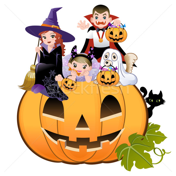 Halloween children wearing costume on huge jack-o-lantern, white background Stock photo © norwayblue