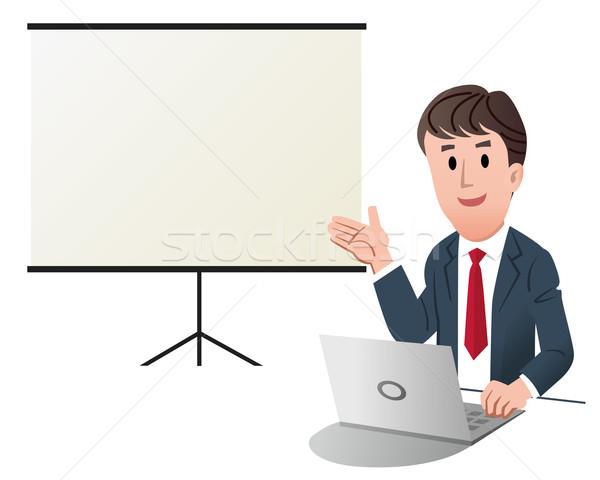 Foto stock: Empresário · apresentação · tela · branco · negócio