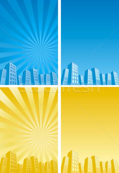 Rascacielos silueta cielo ciudad sol Foto stock © norwayblue