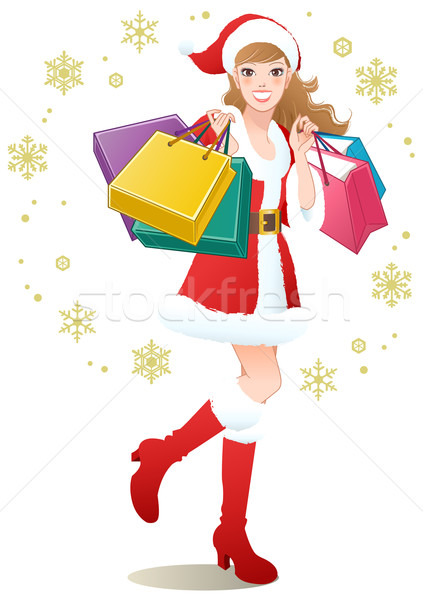 Santa Girl shopping Christmas gifts Stock photo © norwayblue