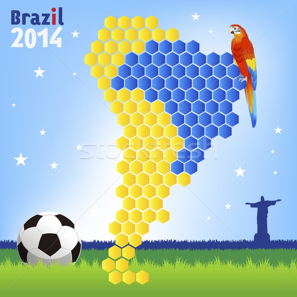 Worldcup brazil concept with red macaw and map Stock photo © norwayblue