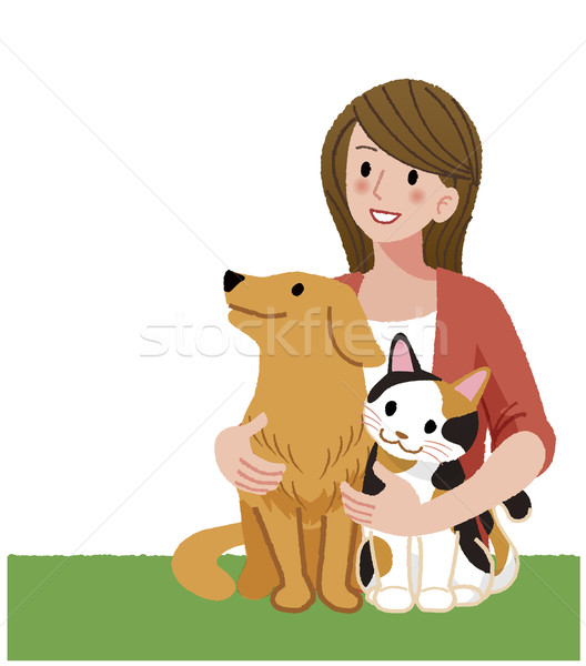 A woman looking up with furry friends Stock photo © norwayblue