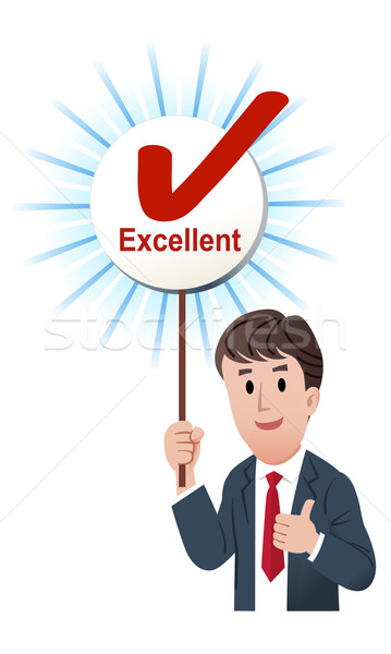 Thumb up businessman with a excellent score board with ticked ma Stock photo © norwayblue