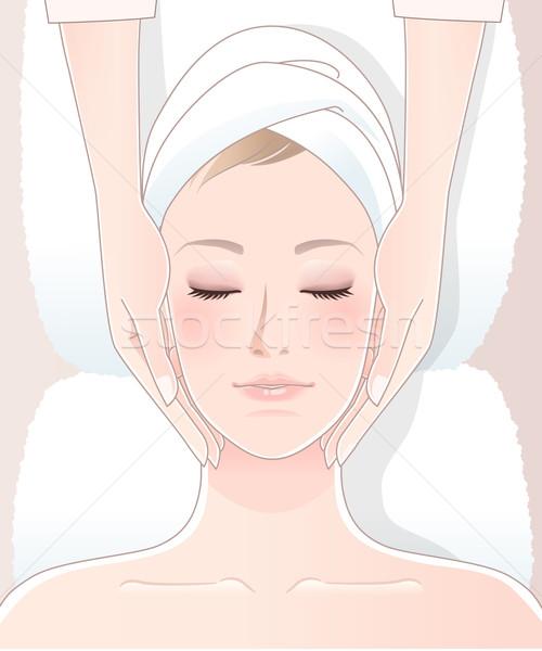 Spa massage mooie vrouw tool gebruikt eps10 Stockfoto © norwayblue