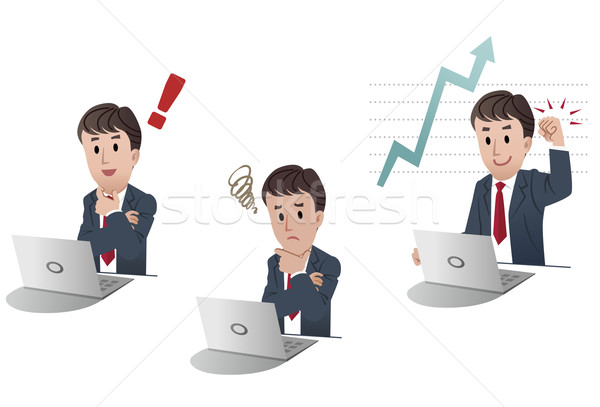 set of cartoon businessman in 3 different poses Stock photo © norwayblue