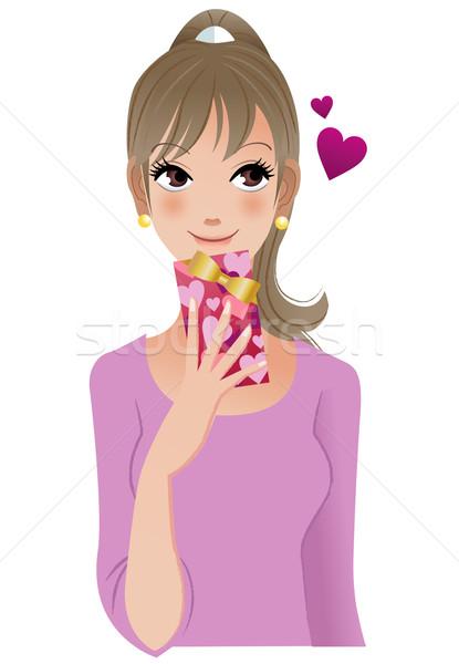 Güzel kadın düşünme birisi vermek sevgililer günü hediye Stok fotoğraf © norwayblue