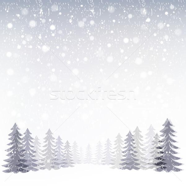 Kış orman dosya eğim şeffaflık Stok fotoğraf © norwayblue