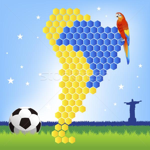 Brazylia piłka nożna czerwony Pokaż ameryka Łacińska tle Zdjęcia stock © norwayblue