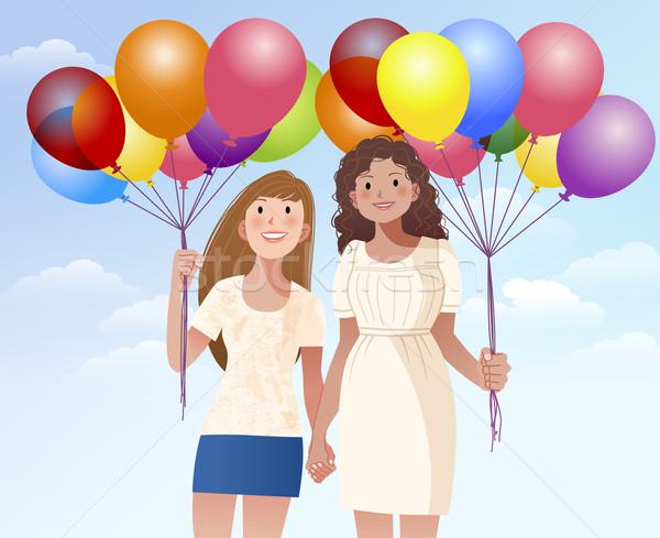 женщины друга , держась за руки шаров девочек Сток-фото © norwayblue