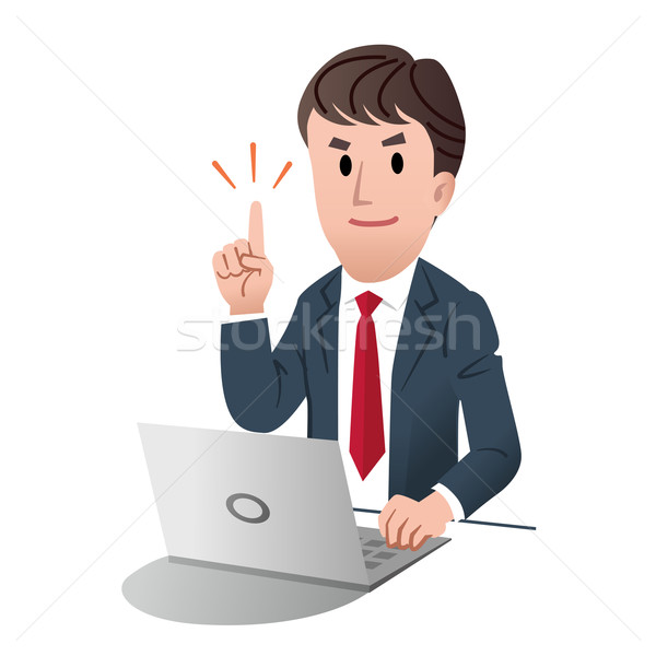 Smiling confident businessman pointing up with index finger Stock photo © norwayblue