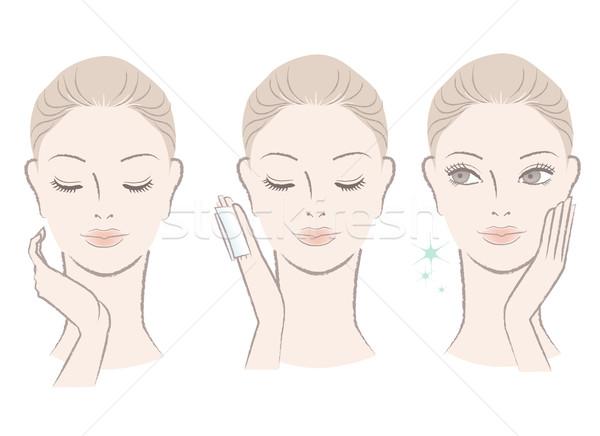 Zdjęcia stock: świeże · cute · kobieta · mleczko · kosmetyczne · twarz