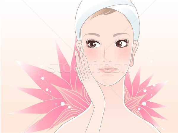 Lotus and Beautiful spa woman touching her face Stock photo © norwayblue