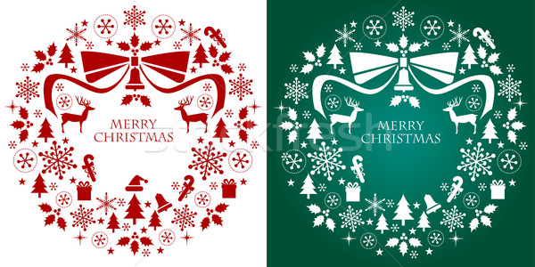 Christmas silhouette collection wreath Stock photo © norwayblue