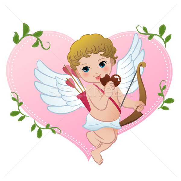 Mischief cupid snibbling heart shaped chocolate Stock photo © norwayblue