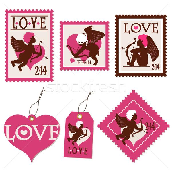 набор марок ребенка ангела Сток-фото © norwayblue