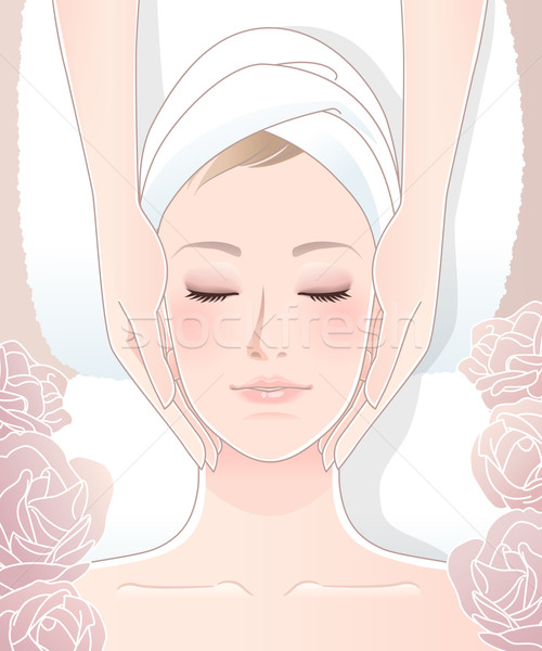 Beautiful woman receiving facial massage Stock photo © norwayblue