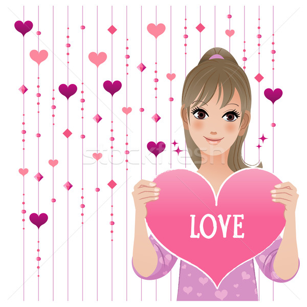 Stock photo: Girl showing loving heart on  beaded curtain background
