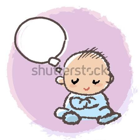 Baby Junge Arm Denken weiß kid Stock foto © norwayblue