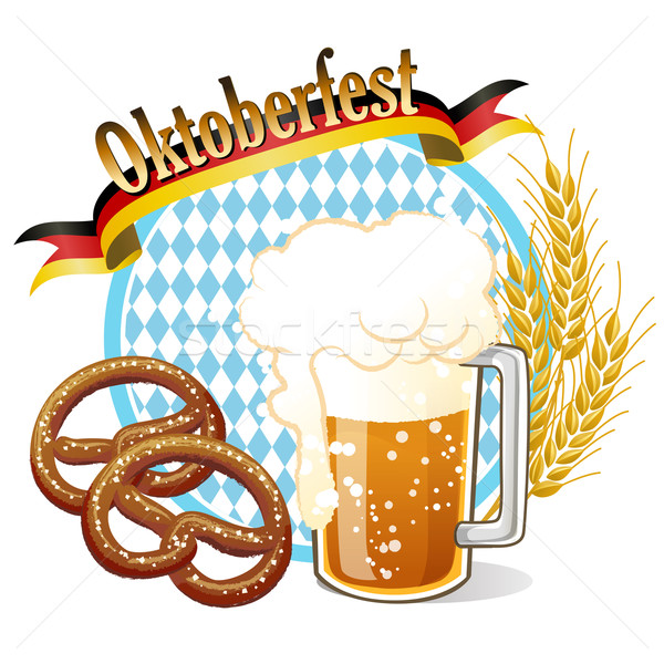 Round Oktoberfest Celebration banner with beer, pretzel,wheat ea Stock photo © norwayblue