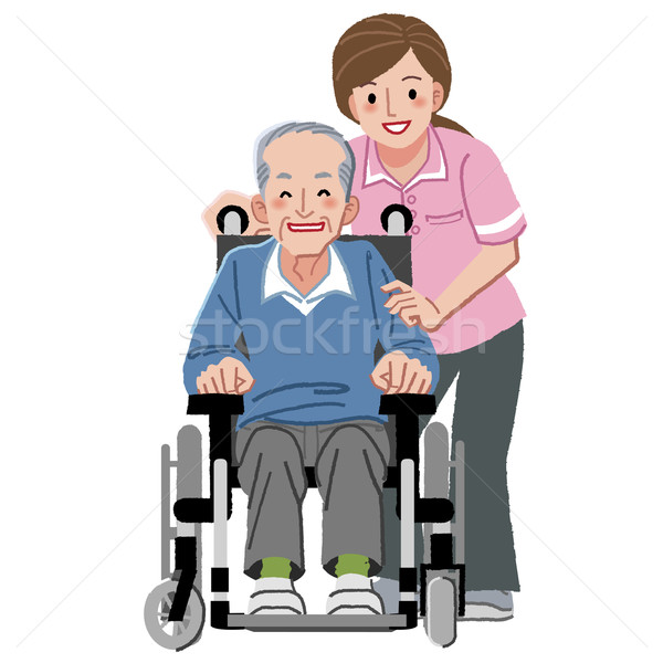Portraits of happy elderly man in wheelchair and his nurse Stock photo © norwayblue