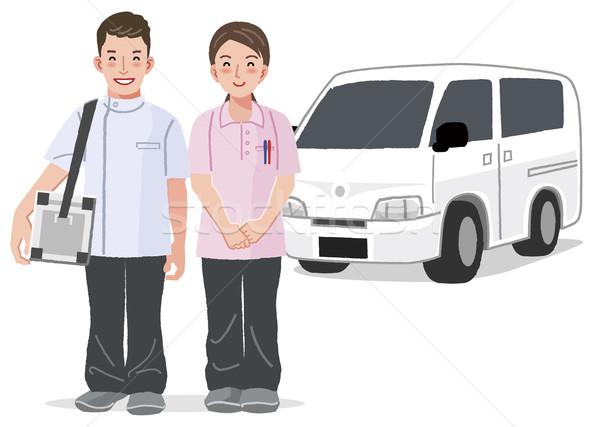 Сток-фото: медицинская · помощь · службе · домой · автомобилей · улыбаясь