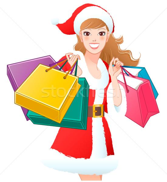 Święty mikołaj dziewczyna zakupy christmas prezenty Zdjęcia stock © norwayblue