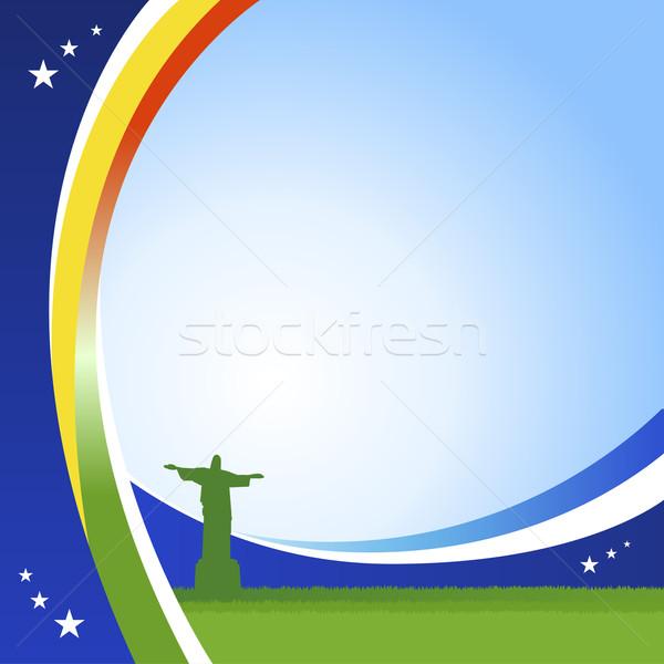 Futbol Brezilya Mesih siluet dosya geçişlerini Stok fotoğraf © norwayblue