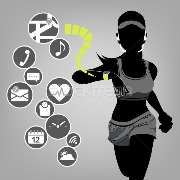 Smart Смотреть Фитнес-женщины иконки здорового силуэта Сток-фото © norwayblue
