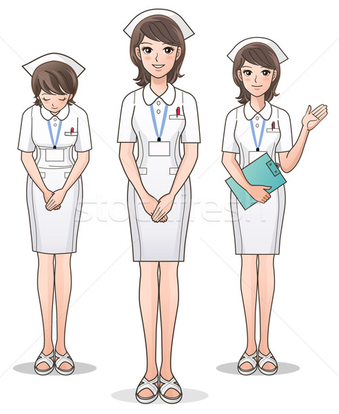 Set of young cute nurse welcoming with a smile Stock photo © norwayblue